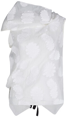 Roland Mouret Off White Cotton Daisy Fil Coupe Draped Eugene Top S