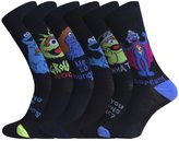 Sesame Street Mens 6 or 12 Pack of Cookie Monster, Grouch and Grover patterned socks