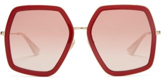 Gucci Hexagon Acetate And Metal Sunglasses - Womens - Red