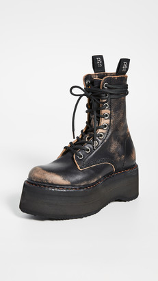 R 13 Double Stacked Lace Up Boots