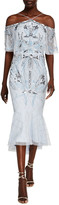Aidan Mattox Fully Beaded High-Low Midi Halter Dress w/ Capelet