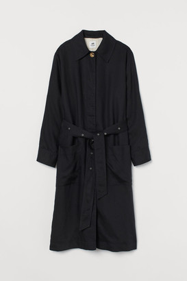 H&M Side-slit Coat - Black