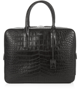 Saint Laurent Museum crocodile-effect leather briefcase