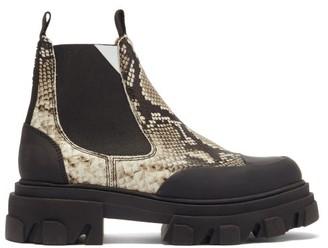 Ganni Trek-sole Python-effect Leather Chelsea Boots - Python