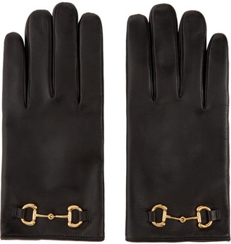 Gucci Black Leather Horsebit Gloves