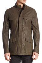 Armani Collezioni Washed Leather Field Jacket