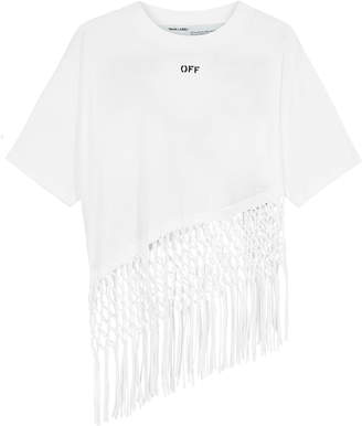 Off-White Off White White Logo-print Cotton T-shirt