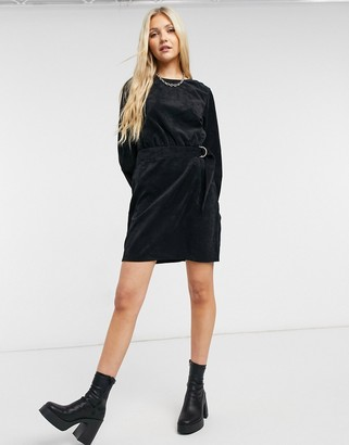 Noisy May belted cord mini dress in black