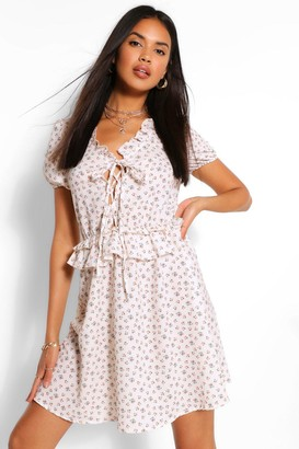 boohoo Floral Print Lace Up Skater Dress