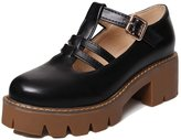 ENMAYER Women's School Style Mid Heel Platform Solid Pump Shoes With Buckle 6 B(M) US