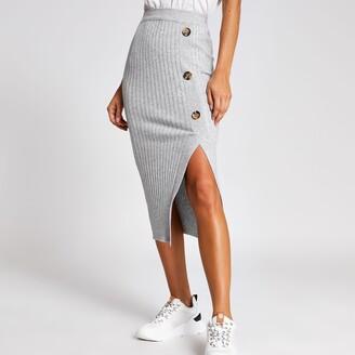 River Island Womens Light Grey knitted midi skirt