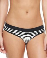 Shoshanna Textured-Stripe Banded Swim Bottom