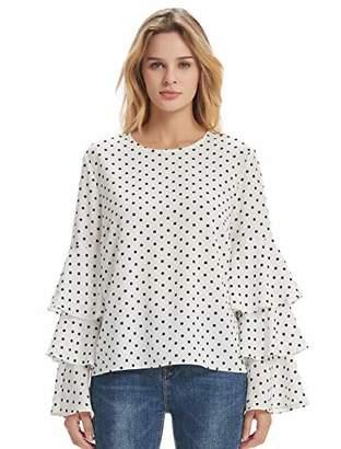 Basic Model Women's Bell Sleeve Tops Round Neck Shirts Ruffled Sleeves Tee Long Sleeve Blouses