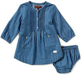 7 For All Mankind Baby Girls Newborn-24 Months Pintucked-Bodice Denim Shirtdress