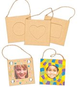 Mini Hanging Strong Board Craft Photo Frames 3 Assorted Apertures (Heart, Square, Circle) Overall size 7.5cm x 7.5cm for Kids to Decorate & Personalise (Pack of 12)