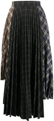 Rokh Pleated Asymmetric Midi Skirt