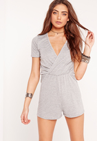 Missguided Jersey Short Sleeve Wrap Romper Grey
