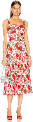 Alexis Amal Midi Dress in Rose Embroidery   FWRD