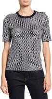 Tory Burch Gemini Link Jacquard Short-Sleeve Sweater