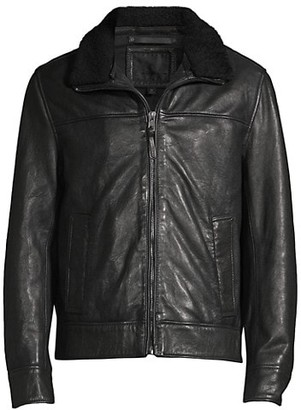 Andrew Marc Augutine Lamb Fur-Trimmed Leather Jacket
