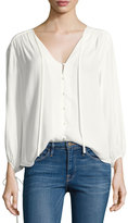Frame Crepe Lace-Up Bracelet-Sleeves Shirt