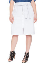 ELOQUII Plus Size Belted A-Line Denim Skirt