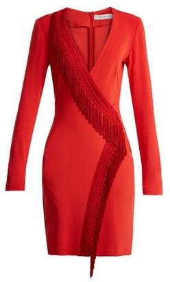Galvan Tunqui Fringed Jersey Mini Dress - Womens - Red