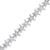 """Zales 1/5 CT. T.W. Diamond Star Link Bracelet in Sterling Silver - 7.25"""""""