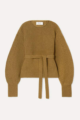 Sea Nellie Belted Ribbed Wool Sweater - Light brown