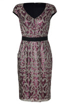 Collette Dinnigan Rose/Silver Cap Sleeve Sequined Highland Dress