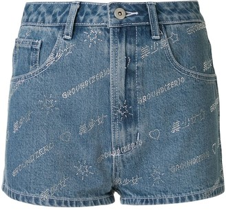 Ground Zero Denim Embellished Logo Shorts