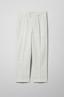 Weekday Floke Seersucker Trousers - Green