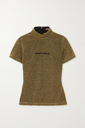House of Holland Embroidered Metallic Knitted T-shirt - Gold