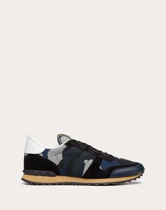 Valentino Uomo Mesh Fabric Camouflage Rockrunner Sneaker Man Indigo 100% Pelle Di Vitello - Bos Taurus 38