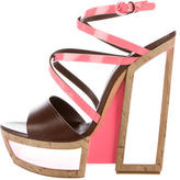 Casadei Fluo Cork Plarform Wedges