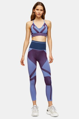 Womens Purple Seamless Geometric Leggings By Hiit - Purple