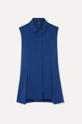 Akris Cotton-blend Poplin Peplum Top - Royal blue