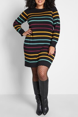 ModCloth Casual Message Striped Sweater Dress