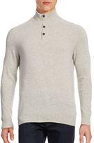 Black Brown 1826 Cashmere Quarter-Button Mock Sweater