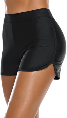 Bonneuitbebe Women's Swim Shorts High Waist Bathing Suit Board Shorts Swimsuit Bottoms Bikini Boyshorts - blue - Large