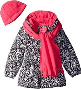 Pink Platinum Little Girls' Puffer Coat with Animal Print Scarf and Hat