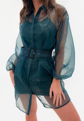 Missguided Green Organza Belted Balloon Sleeve Shirt Dress