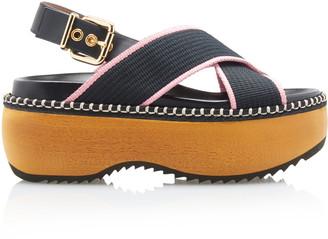 Marni Crisscross Wooden-Platform Slingback Sandals