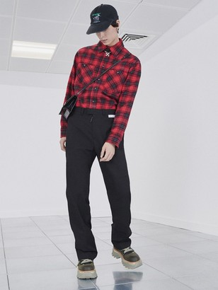 Off-White Stencil Check Cotton Blend Flannel Shirt