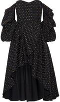 Caroline Constas Jia-jia Off-the-shoulder Wrap-effect Swiss-dot Cotton Mini Dress - Black