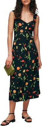 Whistles Fruit Print Sleeveless Midi Dress