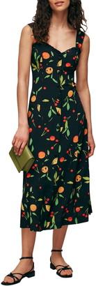 Whistles Fruit Print Sleeveless Midi Dress