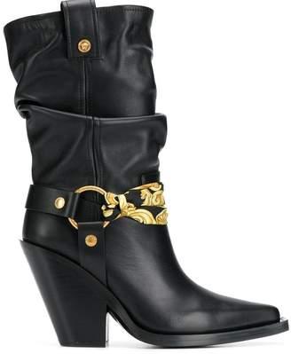Versace bandana buckle boots