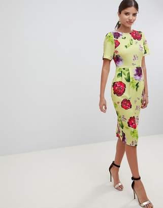 Asos Design DESIGN yellow floral midi wiggle dress-Multi