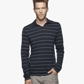 James Perse Washable Wool Striped Jersey Polo